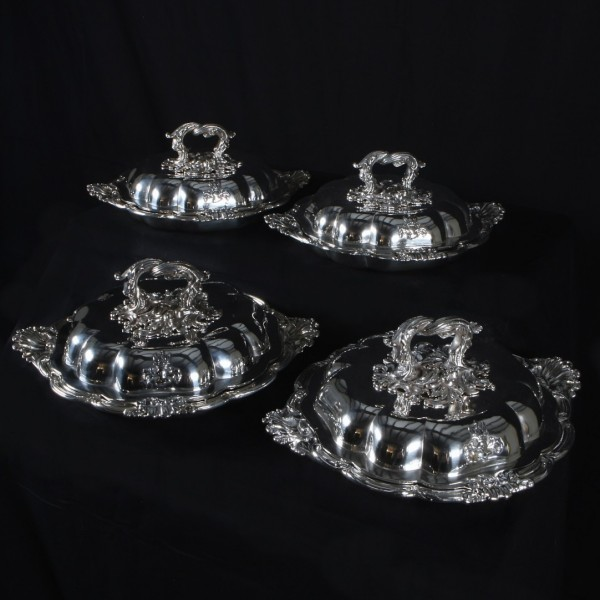 Set of Four Silver Entrée Dishes